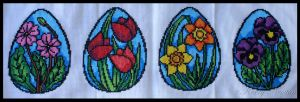 Stained Glass Easter Flowers by KezzaLN