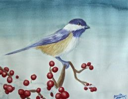 Chickadee in Winter watercolor by SilverAruka