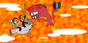 Dinah and Sean battle the Smawzy Fish Beast by smawzyuw2