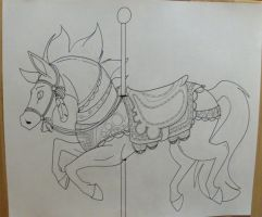 Carousel Horse Meder lineart by KM-cowgirl
