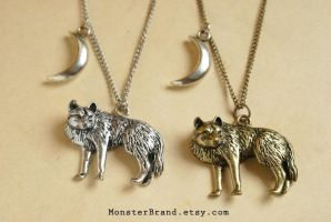Wolf under the crescent moon - Necklaces by MonsterBrandCrafts