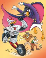 Darkwing Duck vs. Gizmoduck II by KneonT