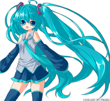 miku colored lineart by Sarivette