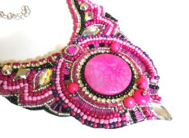 Pink agate beadwork by AniDandelion by AniDandelion