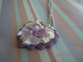 Sweet lolita purple heart necklace by yachumichan77