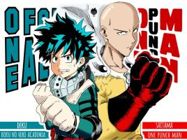 Boku No Hero Academia X One Punch Man (COLOR) by Cancerhart