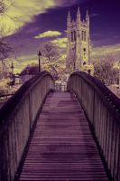 Infrared Bridge to the Church by photographybypixie