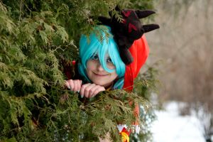 Hatsune Miku: Behind the tree by nennesis