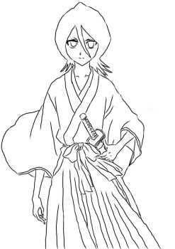 Rukia Kuchiki Lineart (COLORIST WANTED) by TheEye15