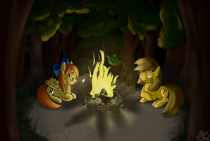 -January- By the campfire by SpacePie