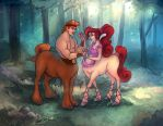Herc and Meg Centaurs [colored] by relsgrotto