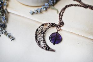 Copper Moon Necklace by twistedjewelry