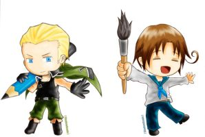 Hetalia APH : Germany and Italy by youngthong-art