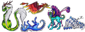 Chibi dragons by silverwolf-song