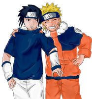 Collab - NaruSasu colored by Hatake-Flor