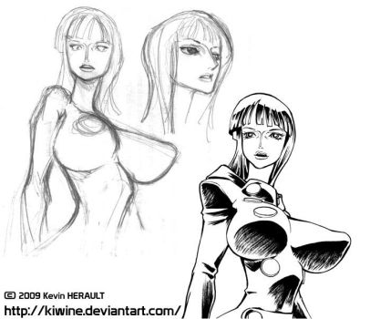 Nico Robin Sketches by kiwine