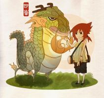 dragon and girl by BusterJim