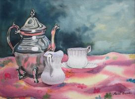87. Silver Teapot and Teacups by Masasasaki