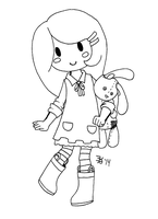 Girl and her Rabbit by death-g-reaper