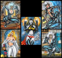 SKETCH CARD COMMISSIONS MARVEL BABES VARIANTS by AHochrein2010