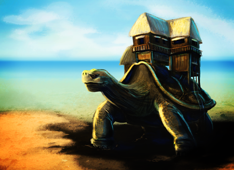 Tortoise with a House by songe-creux