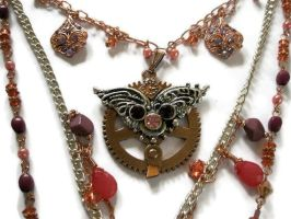 Steampunk jewelry necklace Multi strand wings char by FruttiTuttiBeadCandy
