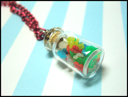 Mini Gummi Bear Jar Necklace by GrandmaThunderpants