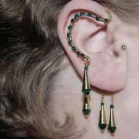 Emerald and Gold Ear Wrap v4- SOLD by YouniquelyChic