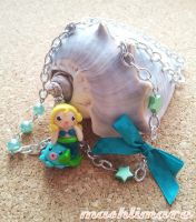 Little Mermaid with Octopus in Green Necklace by mashlimaro