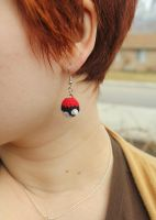 Mini Amigurumi Pokeball Earrings by Kaijere