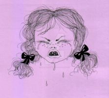 Crying girl ink drawing by pink-porcupine