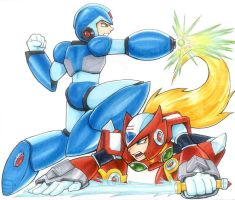Copic Play - Megaman X and Zero by Shalie