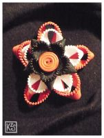 Red White Black brooch by AutumnPendullum