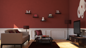 Maroon Living Room with VrayforC4D by MasonButts