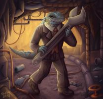 lizardman with a wrench by sushy00