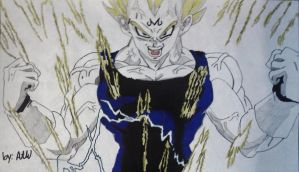Majin Vegeta Powers Up by WatersDBZArt