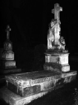Graveyard at night by wizzard0