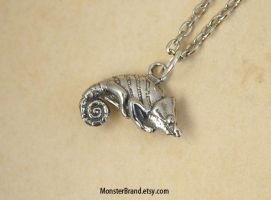 Tiny Chameleon Necklace by MonsterBrandCrafts