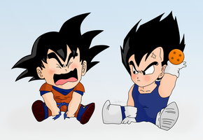 Baby Goku and Vegeta - Color by Lazaer