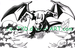 Charizard-Black and White by Fox7XD