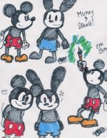 Mickey and Oswald drawings by Celebi9