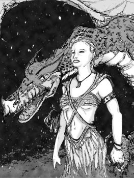 Silvia Saint the mother of DRAGON bw with fond by Screux