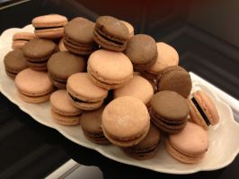 Chocolate and Strawberry Macarons by LemonIceCandy