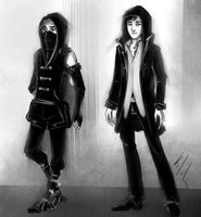 Dishonored and Thief: Modern AU by Hizoku-no-Oni