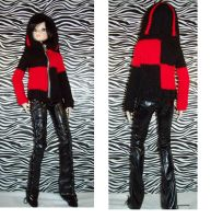 Red and Black Knitted Sweater with hood for BJD's by PeachBlossomCreation