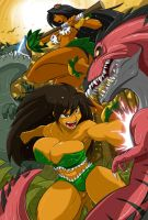 Hula Girl and Kalia Defend Coconut Island by ShoNuff44
