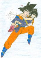 Son Goku and Chi-Chi Flying by hikari-chan1