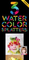 Watercolor Splatters Image PSD For Free by zestladesign