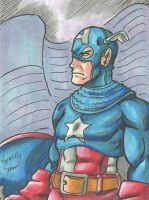 Captain America Sketch card by ibroussardart