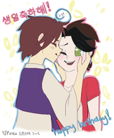 birthday smooches for Misa~~ by PastaIsALie